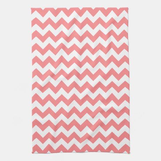 Modern Coral and White Chevron Zigzag Pattern Tea
