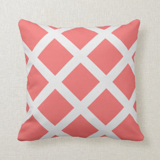 Modern Coral and White Criss Cross Stripes Throw Pillow