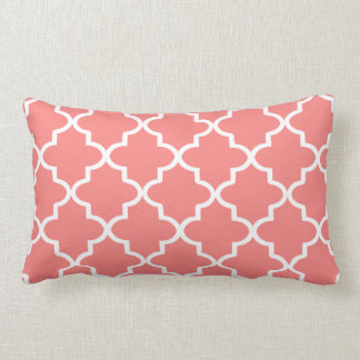 Modern Coral and White Moroccan Quatrefoil Lumbar Cushion
