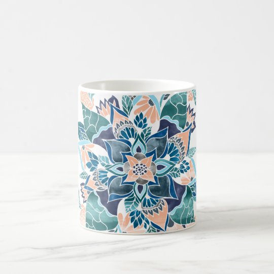 Modern coral blue watercolor floral illustration coffee mug