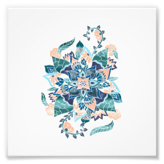 Modern coral blue watercolor floral illustration photograph