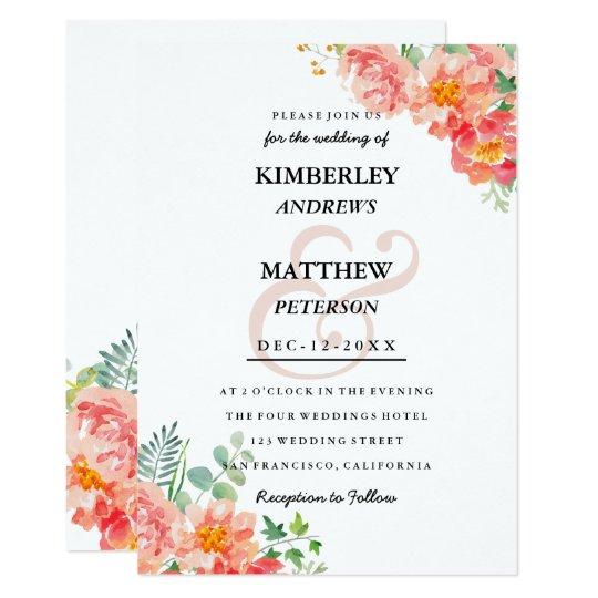 Modern coral blush pink watercolor elegant Wedding Card
