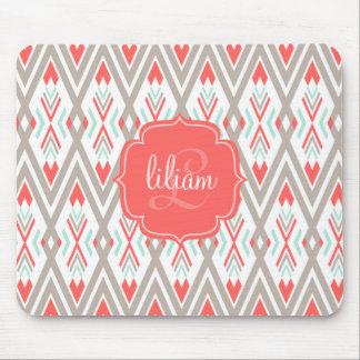 Modern Coral Geometric Tribal Aztec Personalized Mouse Pad