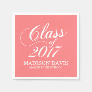 Modern Coral | Graduation Napkins Disposable Napkins