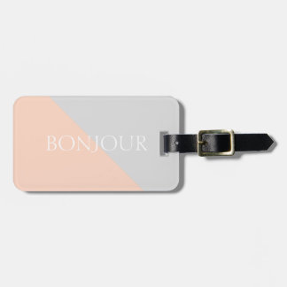 Modern Coral Grey Personalised Luggage Tag