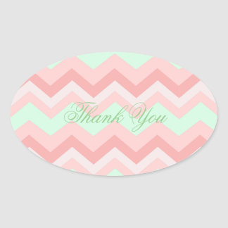 modern coral mint chevron wedding thank you oval stickers