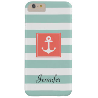 Modern Coral Nautical Anchor Mint White Stripes Barely There iPhone 6 Plus Case