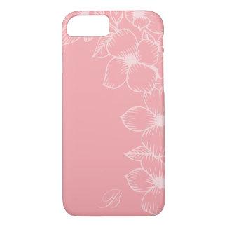Modern Coral & Peach Floral Monogram iPhone 7 Case