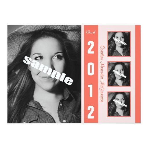 Modern Coral Photo Graduation Announcement