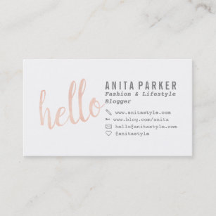 Blog business cards business card printing zazzle uk modern coral watercolor brush hello script blogger business card colourmoves