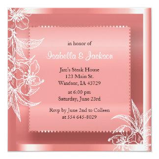 Modern Coral & White Floral Stamp 13 Cm X 13 Cm Square Invitation Card