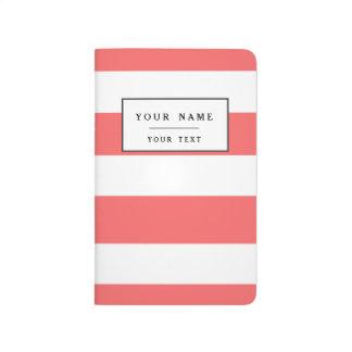 Modern Coral White Stripes Pattern Journal