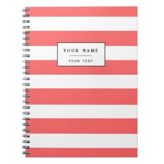 Modern Coral White Stripes Pattern Notebooks