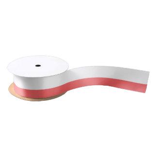 Modern Coral White Stripes Pattern Satin Ribbon