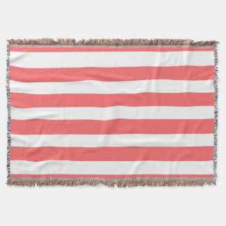 Modern Coral White Stripes Pattern Throw Blanket