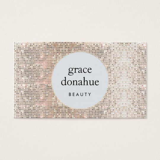 Modern Cosmetologist Silver Sequin Beauty Business Card