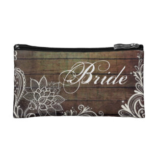 modern country barn wood lace rustic bride makeup bags