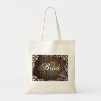 modern country barn wood lace rustic bride budget tote bag