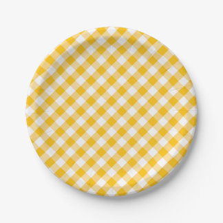 Modern Country Gingham Check Pattern 7 Inch Paper Plate