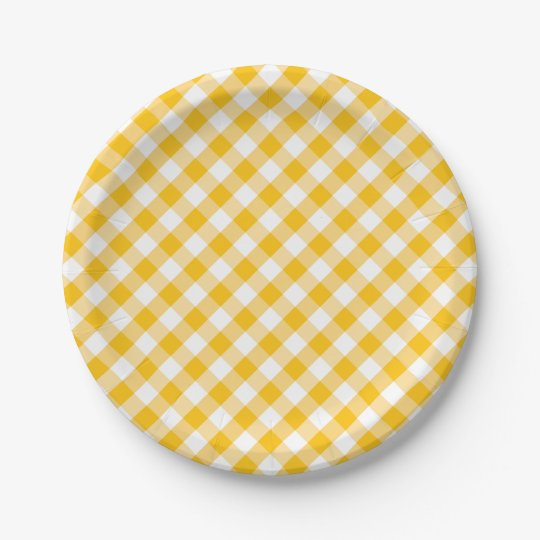 Modern Country Gingham Check Pattern Paper Plate
