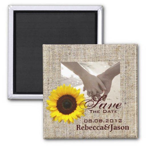 modern country wedding yellow Sunflower burlap Fridge Magnets
