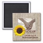 modern country wedding yellow Sunflower burlap Square Magnet