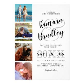Modern Couple Photo Collage | Script Wedding Invitation