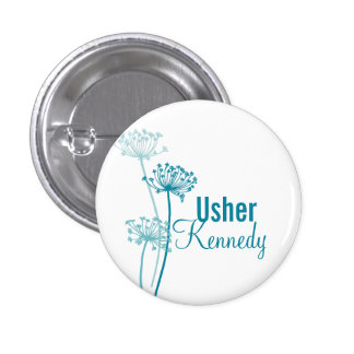 Modern cows parsley Usher wedding pin button