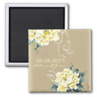modern cream vintage spring floral save the date magnets