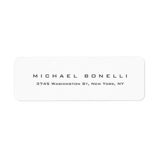 Modern Creative Trendy White Return Address Label