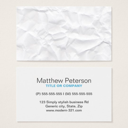 Modern crumpled paper texture professional profile business card