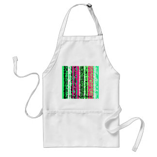 Modern crystallized green pink and black stripes adult apron