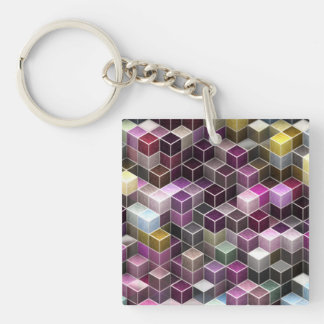 modern cubes (I) Double-Sided Square Acrylic Key Ring