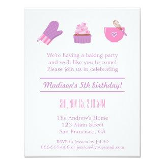 Modern Cupcake Purple Pink Baking Birthday Party 11 Cm X 14 Cm Invitation Card