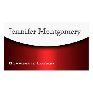 Modern Curve Red Black White Business Cards