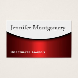 Modern Curve Red Black & White Business Cards