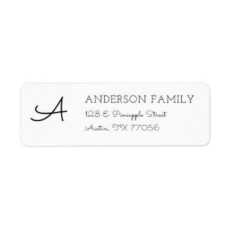 Modern Custom Family Monogram Return Address Return Address Label