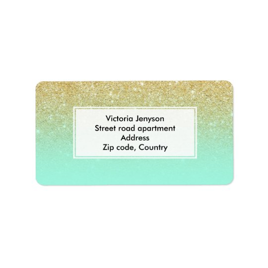 Modern custom gold ombre turquoise block address label