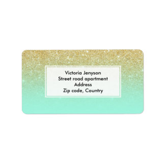 Modern custom gold ombre turquoise block label
