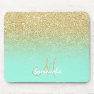 Modern custom gold ombre turquoise block mouse mat