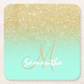 Modern custom gold ombre turquoise block square paper coaster