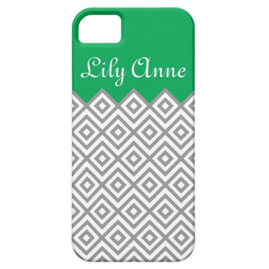 Modern Custom Grey & Kelly Green Chevron Monogram iPhone 5 Cases