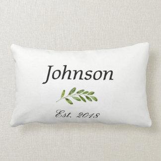 Modern Custom Name Monogram Family Lumbar Pillow