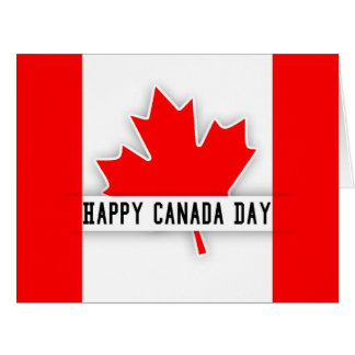 Modern Cut Out Effect Canadian Flag And Maple Leaf Big Greeting Card