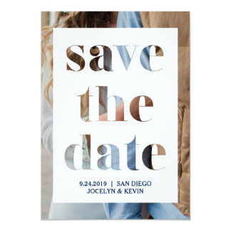 Modern Cut Out Text with Photo Save the Date Card