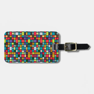 modern cute abstract color mosaic pattern luggage tag