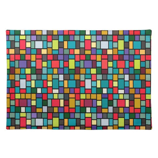 modern cute abstract colour mosaic pattern placemat