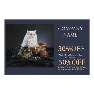 Modern cute animals pet service beauty salon 14 cm x 21.5 cm flyer