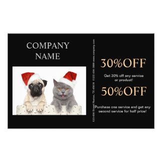 Modern cute animals pet service beauty salon 14 cm x 21.5 cm flyer