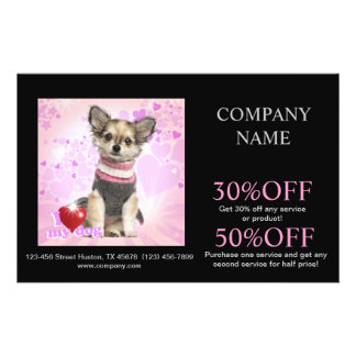 Modern cute animals pet service beauty salon custom flyer